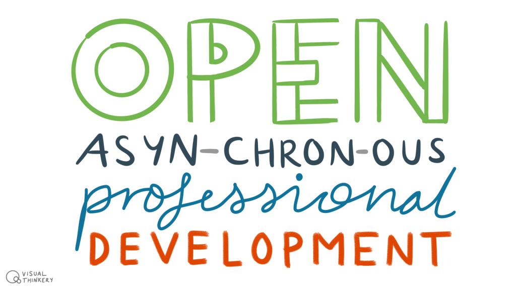 Image colourfully illustrates the phrase 'Open Asynchronous Professional Development'